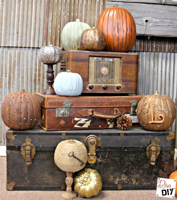 A rustic pumpkin is the perfect addition to your rustic fall decor! Two different finishes with Modern Masters Metal Effects. Then make it into a lantern!