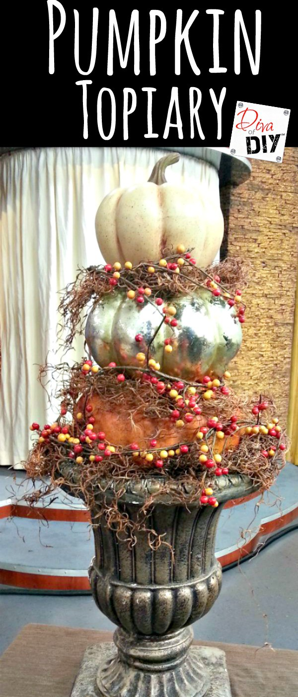 How to make a DIY stacked faux pumpkin topiary from foam pumpkins. There are so many colors and ways to make these fit you fall decor!