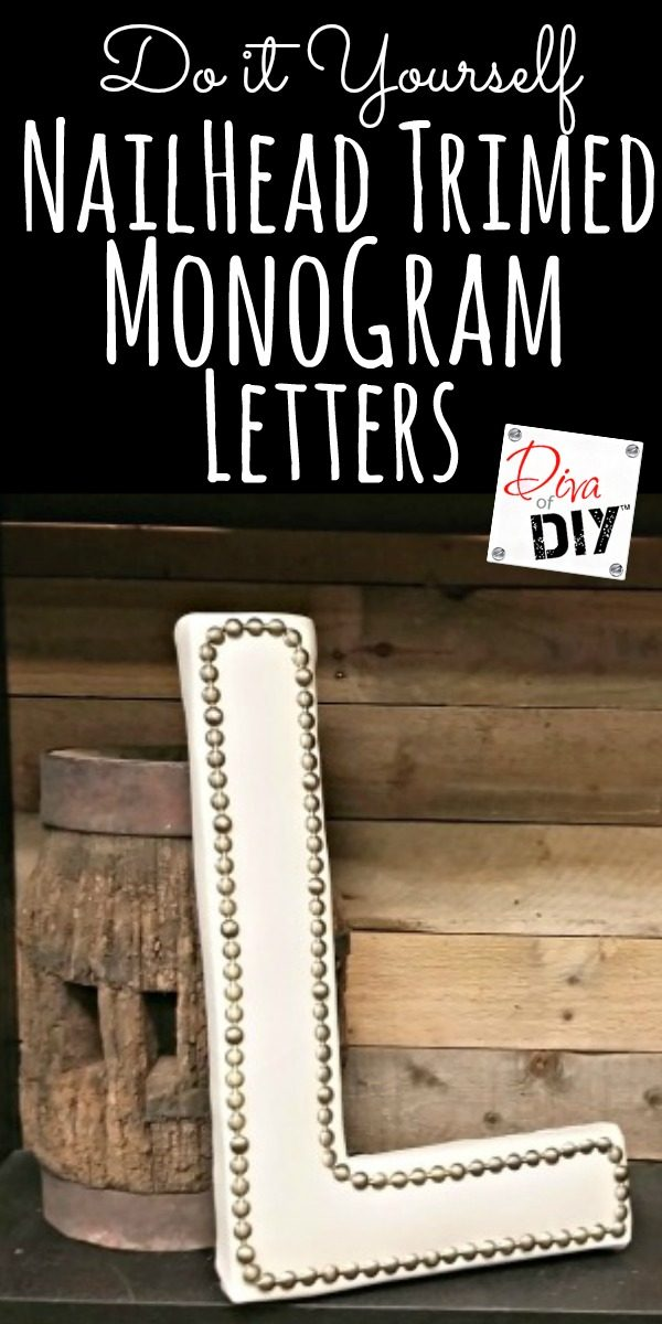 Make a statement with this upholstered monogram letter with nailhead trim. Made with a paper mache letter and left over vinyl fabric. The perfect home decor.