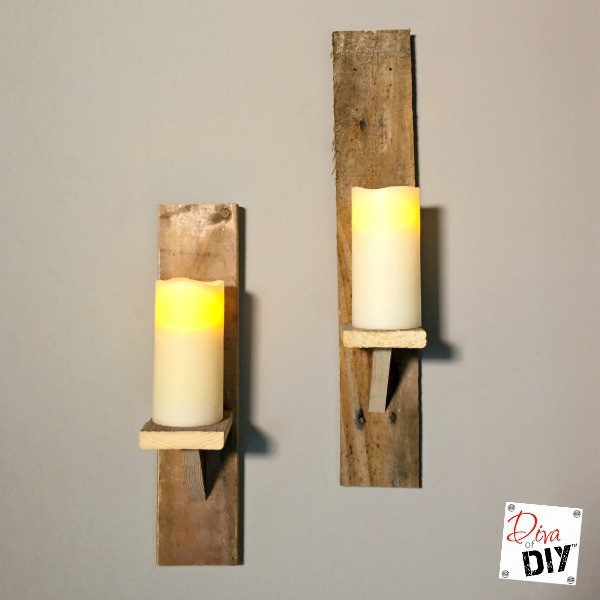 how to make diy candle holders from pallet wood diva of diy. Black Bedroom Furniture Sets. Home Design Ideas