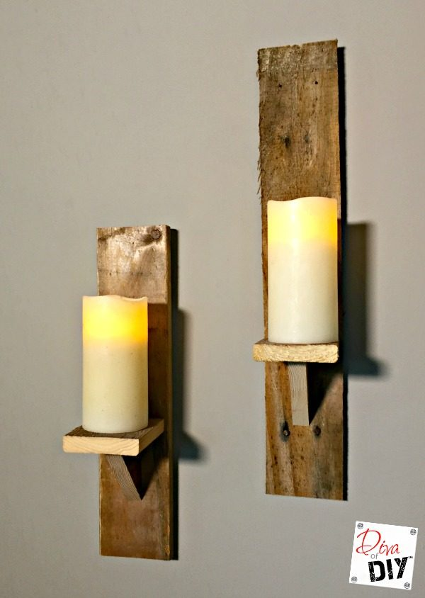 Love the look of farmhouse reclaimed wood? Make these DIY Candle Holders pallet wood project for a quick and easy DIY to bring a rustic look into your home!