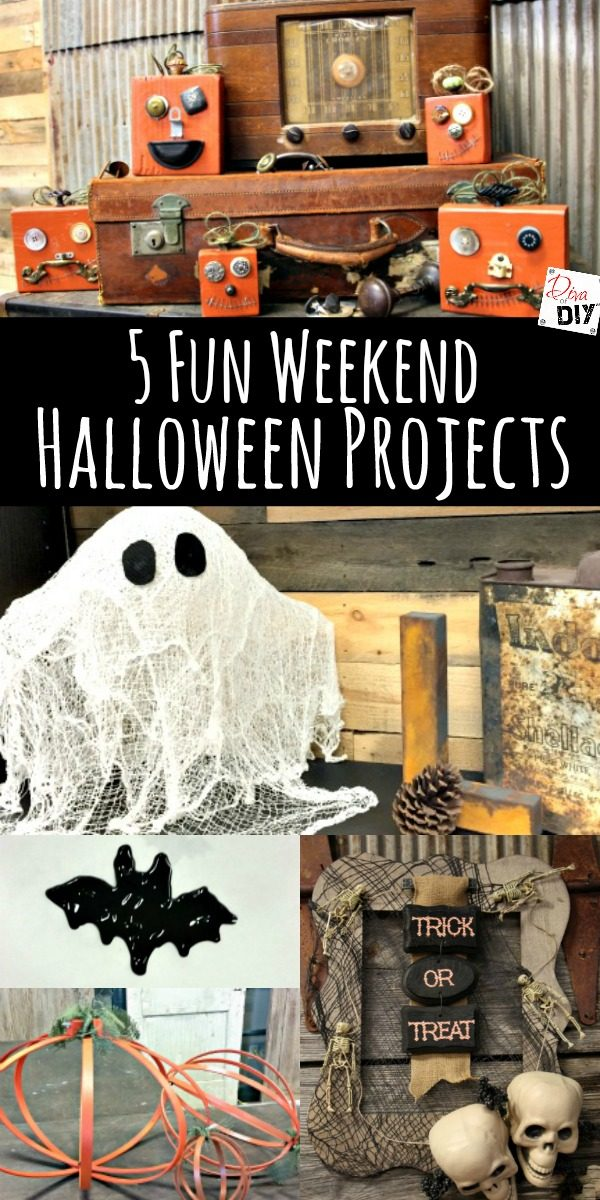 5 Quick and Easy DIY Halloween projects for kids or adults for your Halloween decorating! Something for everyone! Spooky Halloween wreath to Pumpkin decor!