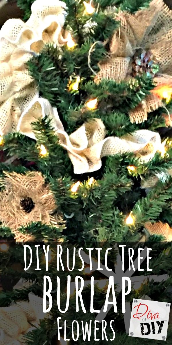 Rustic handmade ornaments are the perfect DIY Christmas craft ornament for your tree! Easy and affordable handmade burlap flowers for rustic decorations!