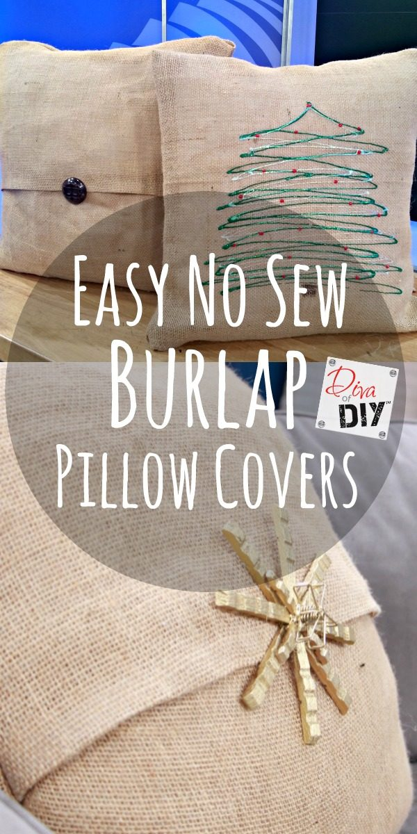Diy Throw Pillow Cover No Sew : How to Make Easy No Sew Burlap Pillow Covers Diva of DIY