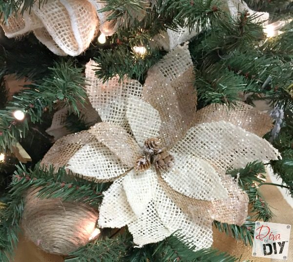 personalize your christmas decorations by making your own burlap poinsettias for your christmas tree ornaments or