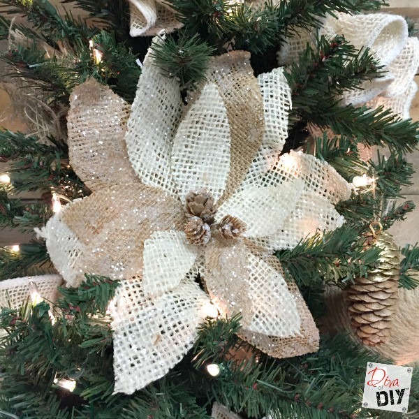 How to make burlap poinsettias for christmas decor for How to make burlap christmas decorations