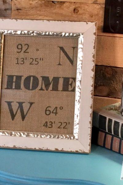 Homemade Signs: Longitude and Latitude Burlap Sign