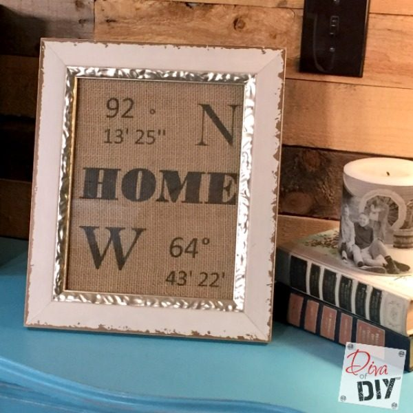 Longitude and Latitude signs are all the rage! Make these DIY homemade signs by printing on burlap from your home printer! Wedding Gifts or Christmas Gifts!
