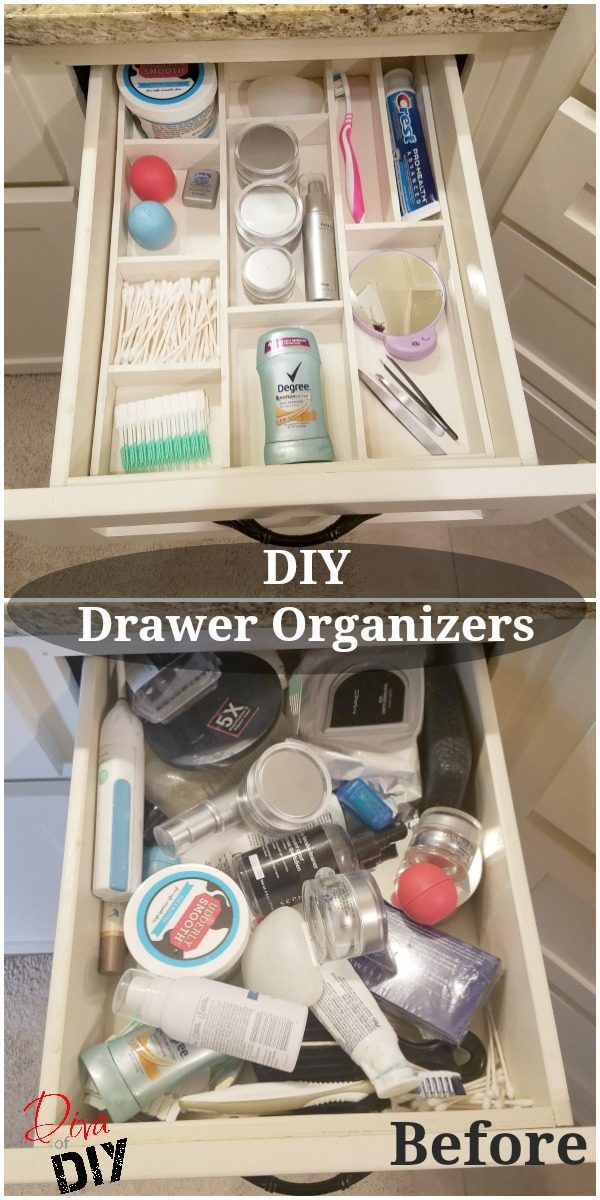 Get organized with this DIY custom wood drawer organizer! You can organize your bathroom or kitchen drawers with this easy DIY organization for the home!