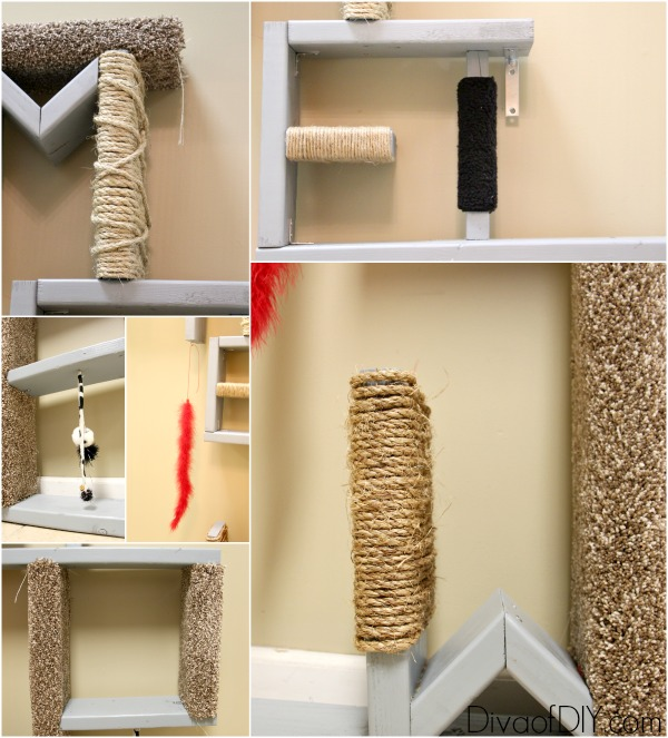 cat scratching post make your own meow diva of diy rh divaofdiy com Making Cat Wall Shelves how to make homemade cat shelves