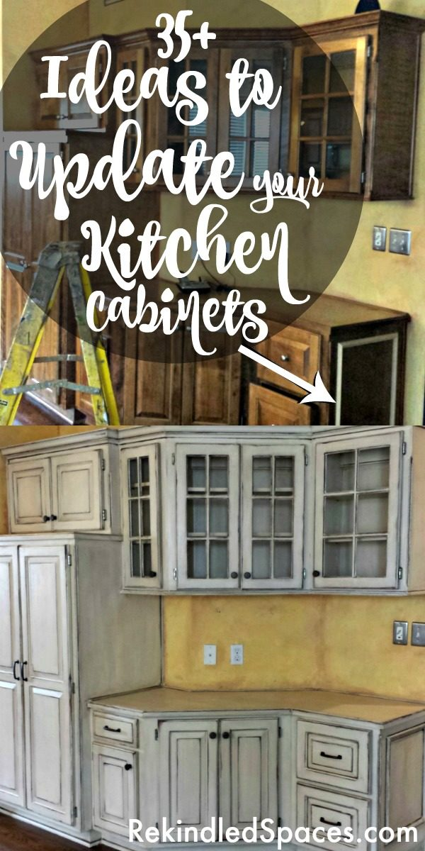 Kitchen cabinets makeover from a professional refinisher! Kitchen cabinet styles before and afters of painted kitchen cabinets and updated stain cabinets!