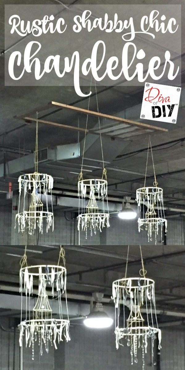 Looking for rustic chandelier ideas? This rustic shabby chic chandelier diy is the perfect way to upcycle worn out lamp shades! Cheap Romantic bedroom ideas