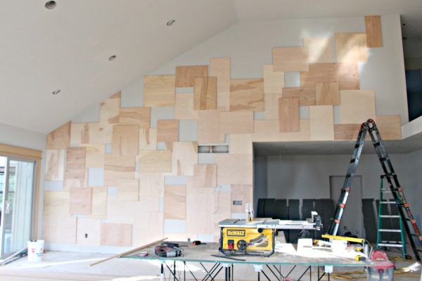 Accent wall idea using Purebond plywood. Perfect way to decorate a large accent wall in living room or dining room. This unique plywood wall idea is a show stopper!