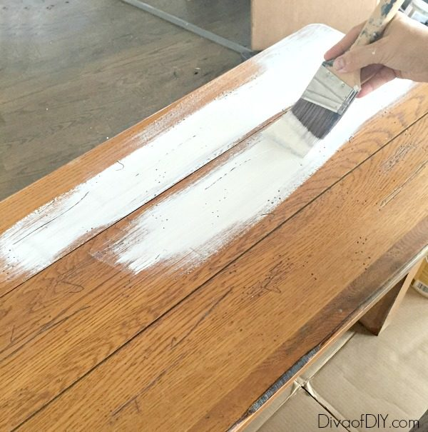 Add brightness to your farmhouse style kitchen by updating your farmhouse table with paint! Chalk paint furniture is very on trend right now. Paint like a pro!