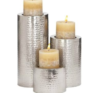 These beautiful stainless candleholders will add a modern touch to your farmhouse table