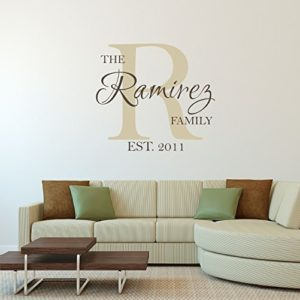 Handmade vinyl wall art featuring family name and initial