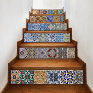 staircase ideas: Add color and dimension with these removable mosaic tile stair riser decals