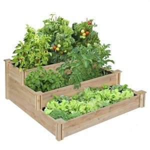 This 3 tiered raised garden bed is perfect for homes short on space