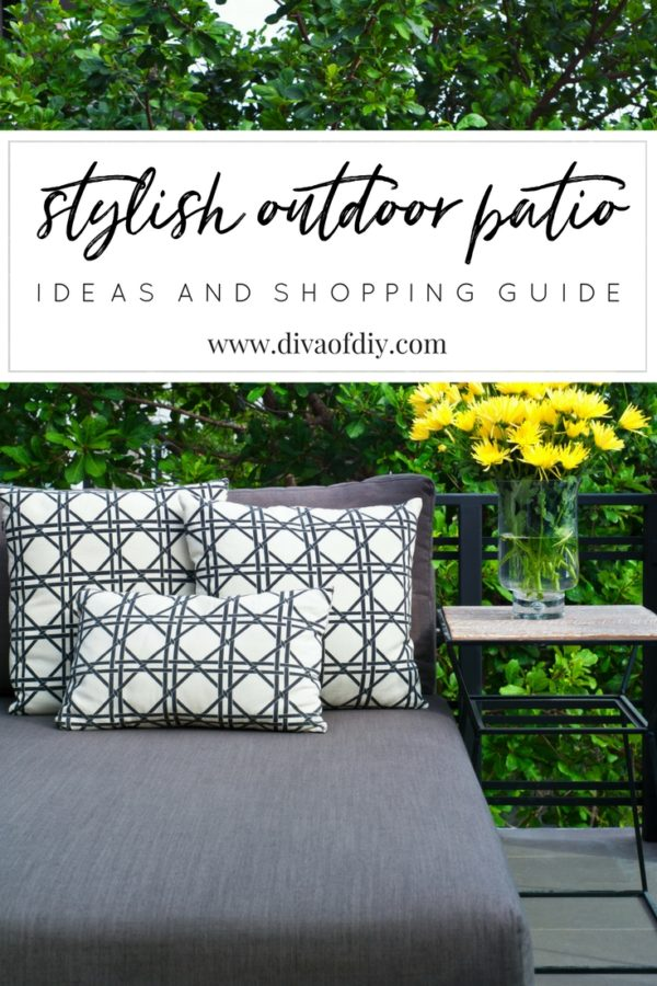 Learn how to create a stylish outdoor patio by bringing some of the indoors out