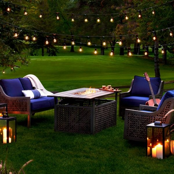 This fire chat outdoor patio set is perfect for those cool summer evenings