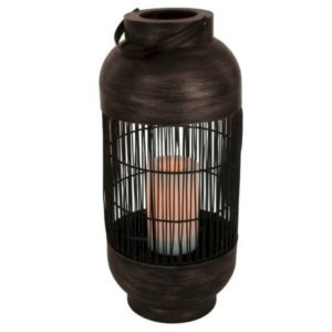 This tall rattan lantern is perfect for our stylish outdoor patio