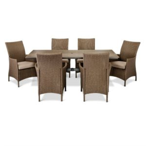 This 7 piece patio set is perfect for our stylish outdoor patio