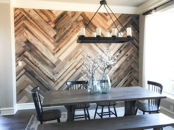 Wood Accent Wall Herringbone Wall