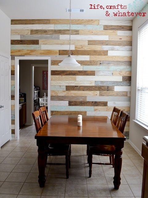 Wood Accent Wall Multi-Colored Plank Wall