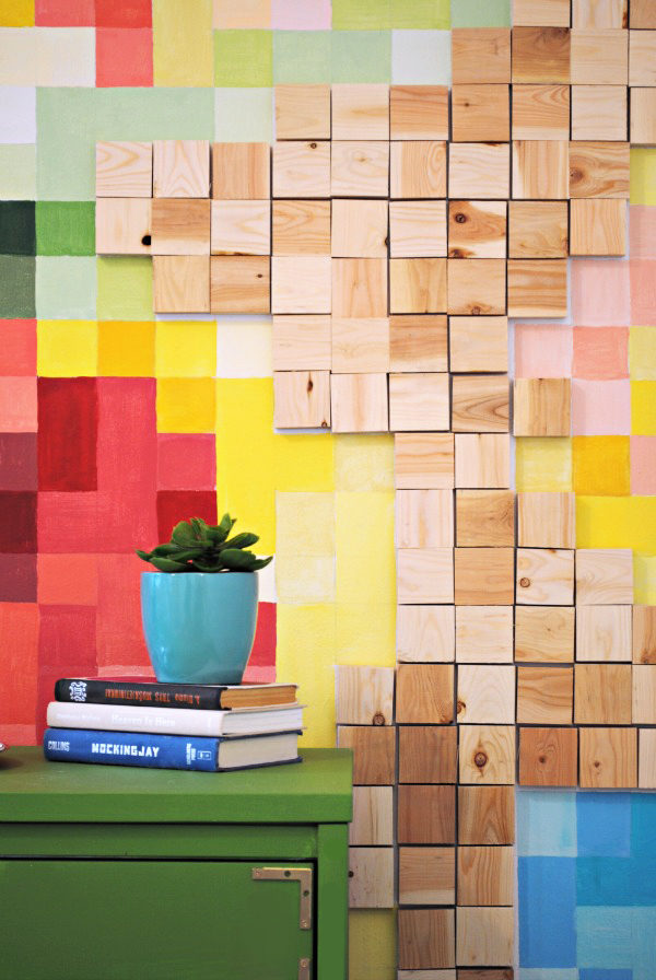 Pixelated Wood Wall