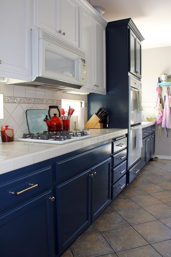 Painting Kitchen Cabients Navy Blue and White