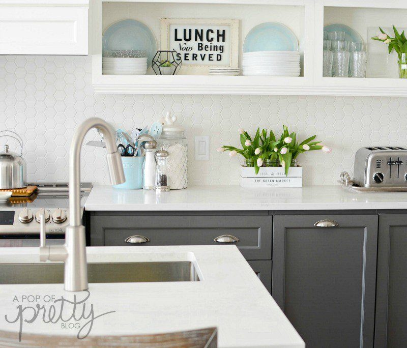 Two Toned Kitchen Cabinets - Gray and White