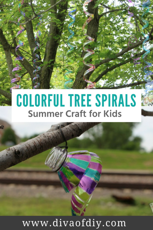 Colorful Tree Spirals The Perfect summer craft for kids!