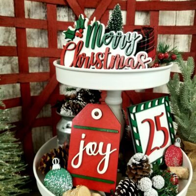 Merry Christmas Tiered Tray Decor